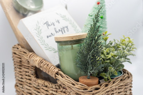 Holiday Gift Basket With Home Decor Items Buy This Stock Photo And
