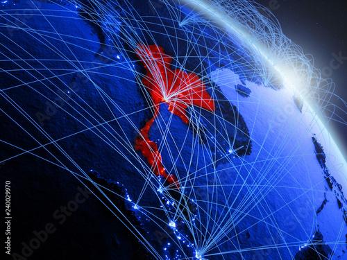 Fototapeta  Thailand from space on model of blue digital planet Earth
