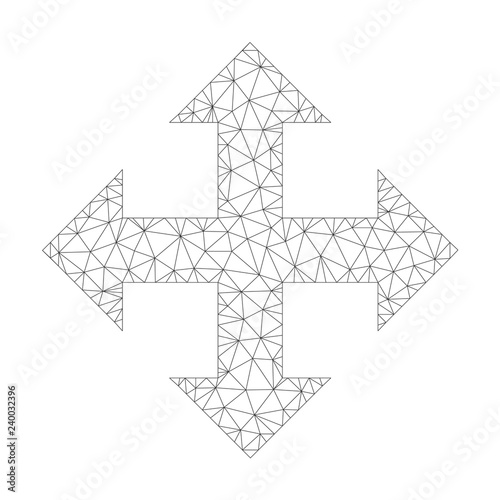 Polygonal vector expand arrows icon on a white background
