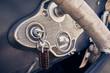 Leinwanddruck Bild - Autoschlüssel im Zündschloss eines Oldtimers