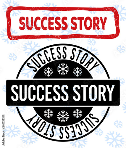 A Christmas Story Logo Vector.Success Story Stamp Seals On Winter Background With
