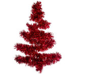 Isolate Of Red Tinsel In The Form Of A Christmas Tree