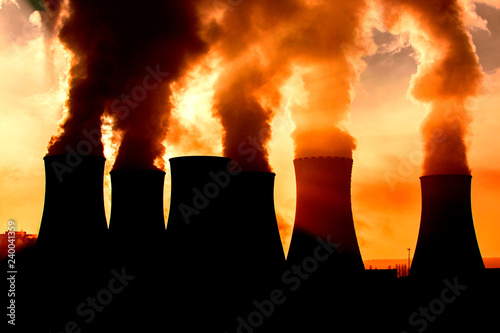 coal fired power station silhouette at sunset, Pocerady, Czech republic Fototapete