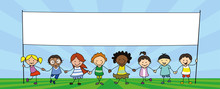 Group Of Children Holding Banner, Kids Holding Hands Illustration -