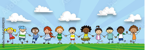 happy kids holding hands, children playing on meadow  -