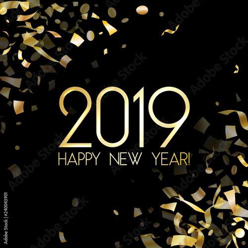 Fototapeta 2019 Happy New Year card with gold confetti. obraz na płótnie