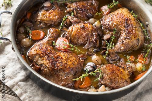 Photo Homemade French Coq Au Vin Chicken