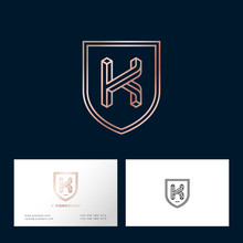 K Impossible Gold Letter. K Monogram Consist Of Thin Lines. Identity. Business Card.