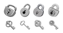 Vector Set Of Keys And Locks Icons Detailed Photo Realistic