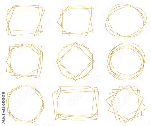 Fototapety, obrazy: Vintage gold geometric frames pack. Decorative luxury line borders for invitation, card, sale, photo etc. Vector illustration
