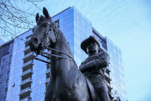 Portland, OR. December 2018. Theodore Roosevelt Statue In Downtown.