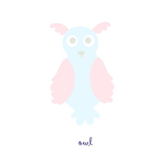 Cute owl bird vector color characters set. Sketch owl in pastel blue, pink colour. Forest animal doodle drawing, isolated scandinavian cartoon kids book, textile, sticker, for web