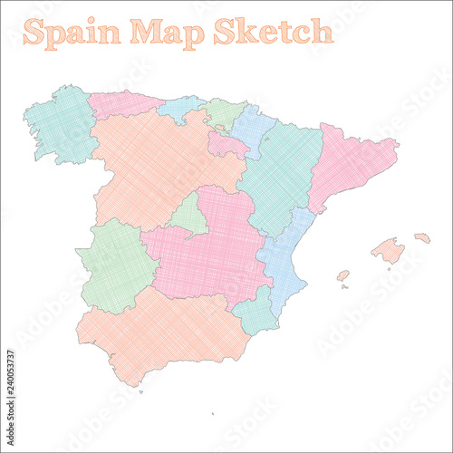Spain map. Hand-drawn country. Fancy sketchy Spain map with ...