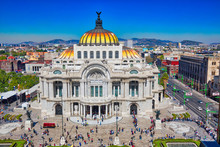 Mexico City, Mexico-2 December, 2018: Landmark Palace Of Fine Arts (Palacio De Bellas Artes) In Alameda Central Park Near Mexico City Historic Center (Zocalo)