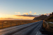 Road with sunset in Iceland