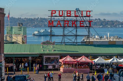 Fotografie, Obraz  The Front of Pike Place Market - Public Market