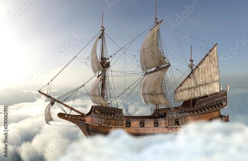 Fotobehang Art Studio Sailboat flying above the clouds 3d illustration