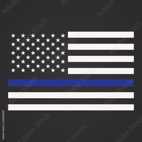 Fotografía  Vector Illustration of Police Department Flag, US Flag, Blue Line