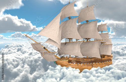 Poster Taupe Sailboat flying above the clouds 3d illustration