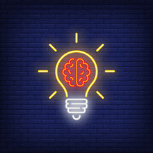 Light Bulb With Brain Neon Sign. Idea Concept Design. Night Bright Neon Sign, Colorful Billboard, Light Banner. Vector Illustration In Neon Style.
