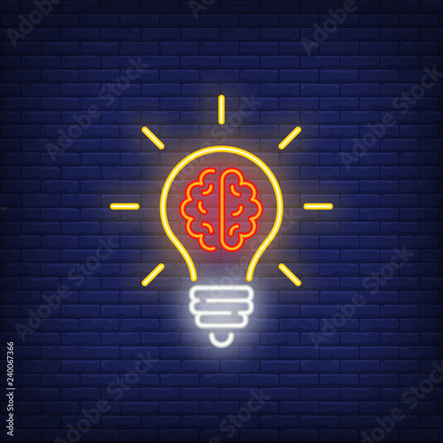 Light bulb with brain neon sign. Idea concept design. Night bright neon sign, colorful billboard, light banner. Vector illustration in neon style. Wall mural