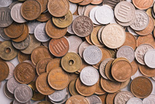 Close Up On Coins Of Japanese Yen.