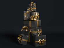 Gifts Stack With Golden Ribbon...