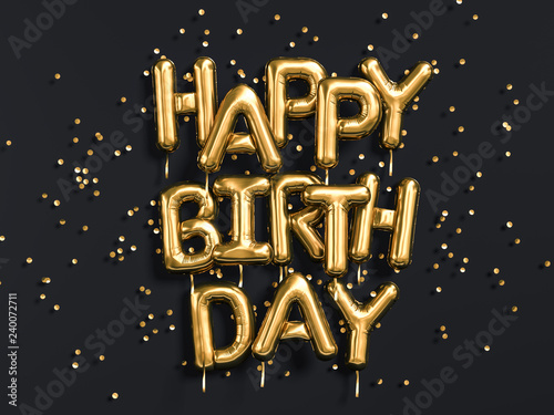 Photo  Happy Birthday text congratulations gold foil balloons on black background, gree