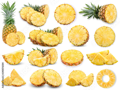 Obraz na płótnie Collection Pineapple isolated on white background