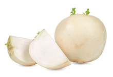 White Turnips Isolated On White Clipping Path