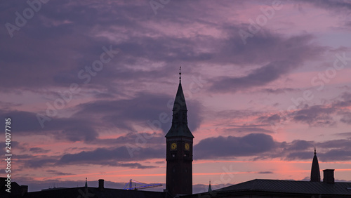 Photo  Steeples of Copenhagen cathedrals against night skies