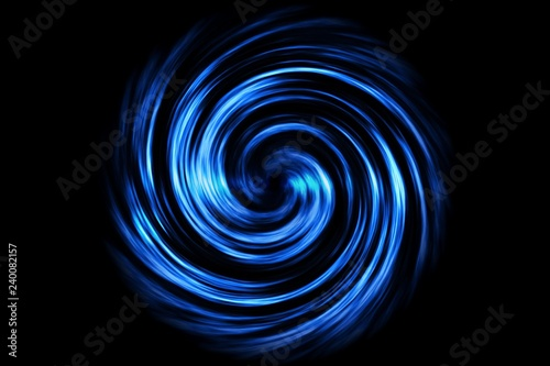 Obraz Glowing spiral tunnel with blue smoke on black background - fototapety do salonu
