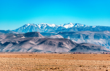Amazing panoramic view of the Atlas Mountains in Morocco