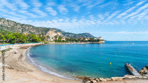 Landscape with amazing beach Baie des Fourmis, Beaulieu sur Mer, Cote d'Azur, France