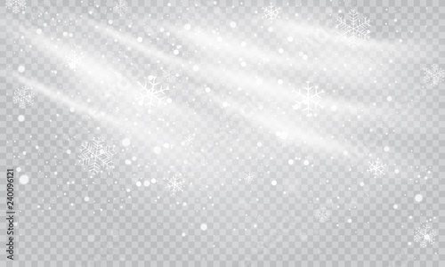 Obraz Snow and wind on a transparent background. White gradient decorative element, vector illustration.Winter and snow with fog. - fototapety do salonu