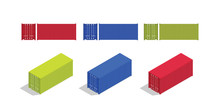 Container Isometric And From Front Set Collection With Various Color