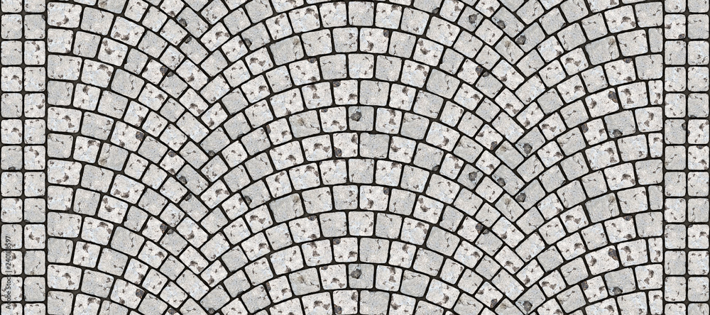 Fototapety, obrazy: Road curved cobblestone texture 096