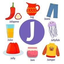 Vector Cute Kids Animal Alphabet. Letter J. Set Of Cute Cartoon Illustrations.