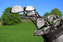 Different Golf Clubs On  Backg...