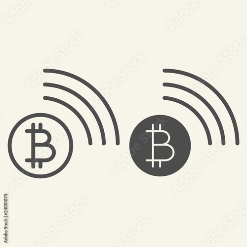 Bitcoin wifi line and glyph icon. Bitcoin connection vector illustration isolated on white. Cryptocurrency coating outline style design, designed for web and app. Eps 10. Wall mural
