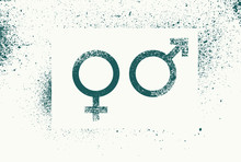 Venus And Mars. Gender Signs. Male And Female Symbols Typographic Vintage Grunge Style Poster. Retro Vector Illustration.
