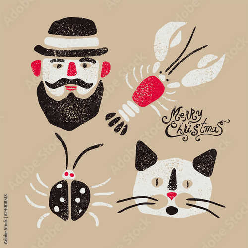 Photo Stands Illustrations Merry Christmas. Typographic grunge vintage Christmas card design with cartoon man, crayfish, beetle and cat. Retro vector illustration.