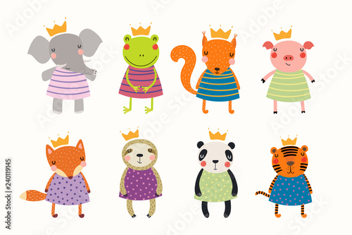 Big set of cute funny animals princesses in crowns and dresses. Isolated objects on white background. Hand drawn vector illustration. Scandinavian style flat design. Concept for children print.