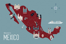 Mexico Cartoon Travel Map Vector Illustration With Landmarks And Cities, Roadmap. Postcard Concept With The Most Interesting Place For Visit. Business Travel And Tourism Concept Clipart, Icons.
