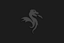 Abstract Black White Dragon Illustration