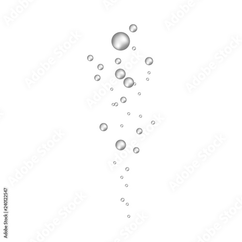 Photo  Underwater fizzing air bubbles flow in realistic 3d style isolated on white background