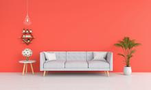 Sofa In Orange Living Room, 3D Rendering