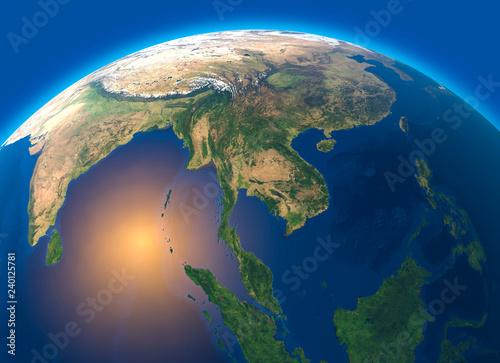 Fototapety, obrazy: Mappa fisica del mondo, vista satellitare del Sud-est asiatico. Globo. Emisfero. Rilievi e oceani. Rendering 3d