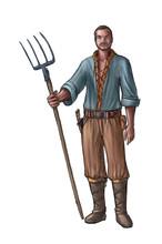 Concept Art Digital Painting Or Illustration Of Fantasy Villager, Village Man, Countryman Or Farmer Holding Pitchfork Or Fork.