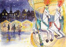 Retro Carousel Horse. Winter T...